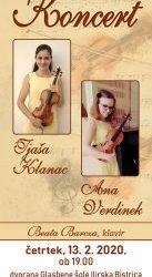 Koncert violinistk Tjaše Klanac in Ane Verdinek