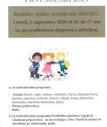 Prvi šolski dan 2020-2021